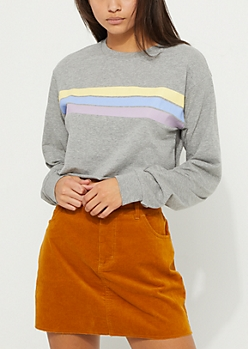 Gray Tri Stripe Crop Tee