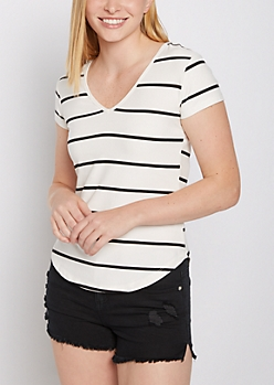 Striped Soft Brushed V Neck Tee