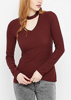 Black & Burgundy Striped Keyhole Shirt