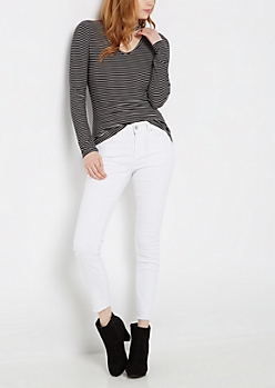 Black & White Striped Keyhole Shirt
