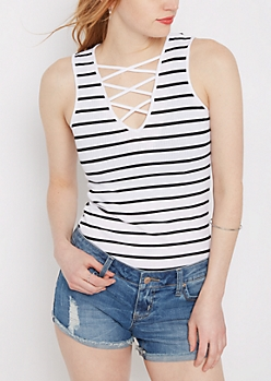 Black Striped Lattice Tank Top