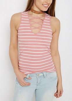 Pink Striped Lattice Tank Top