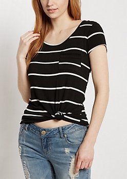 Black Striped Crochet Ladder Tee