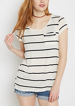 White Striped Crochet Ladder Tee
