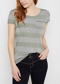 Green Wide Striped Crochet Ladder Tee