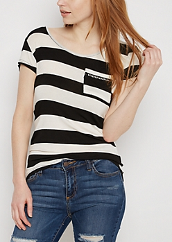 Black Wide Striped Crochet Ladder Tee