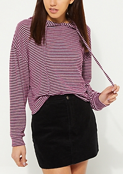 Purple Striped Hacci Knit Hoodie