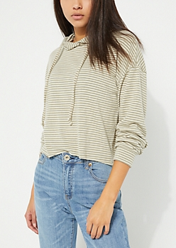 Olive Striped Hacci Knit Hoodie