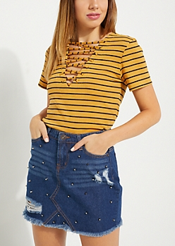 Mustard Striped Lace Up Rib Knit Tee