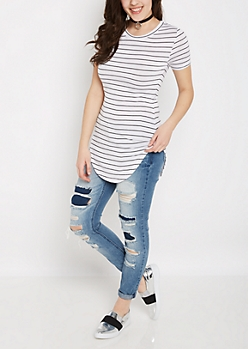 White Striped Shirttail Hem Fitted Tunic Tee