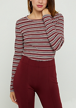 Pink Striped Long Sleeve Crop Top