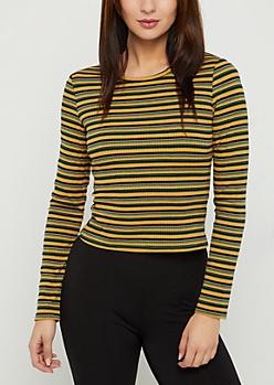 Mustard Striped Long Sleeve Crop Top