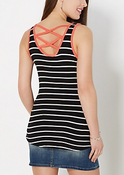 Black Striped Caged Back Tank