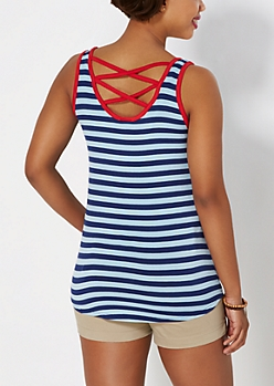 Blue Striped Caged Back Tank