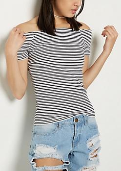 White Striped Rib Knit Off Shoulder Tee