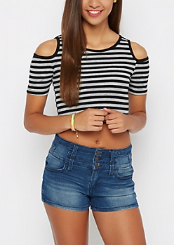Black & Charcoal Striped Cold Shoulder Crop Top