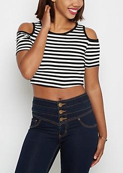 Black & White Striped Cold Shoulder Crop Top