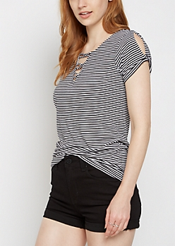 Striped Looping Lattice Tee