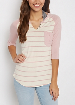 Ivory & Pink Striped Henley Shirt