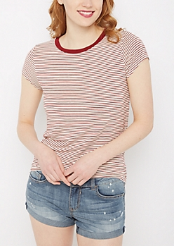 Red Striped Crewneck Tee