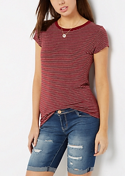Burgundy Striped Crewneck Tee