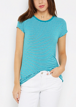 Teal Striped Crewneck Tee