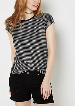 Black Striped Crewneck Tee