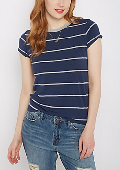 Navy Pencil Striped Ringer Tee
