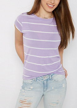 Lavender Pencil Striped Ringer Tee