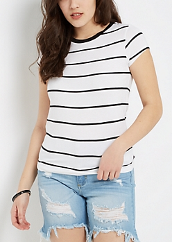 Black Pencil Striped Ringer Tee