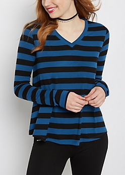 Blue Striped Raw Edge V-Neck Tee