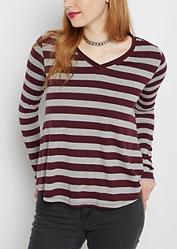 Purple Striped Raw Edge V-Neck Tee