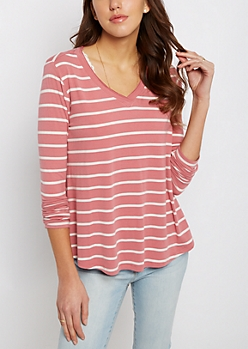 Pink & White Striped Raw Edge V-Neck Tee