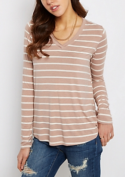 Tan & White Striped Raw Edge V-Neck Tee