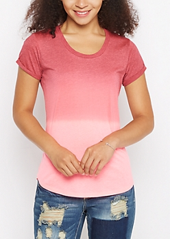 Burgundy & Pink Ombre High Low Tee