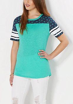 Teal Tossed Anchor Gridiron Tee
