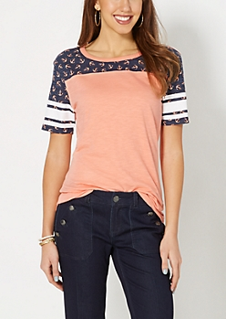 Anchored Color Blocked Gridiron Tee