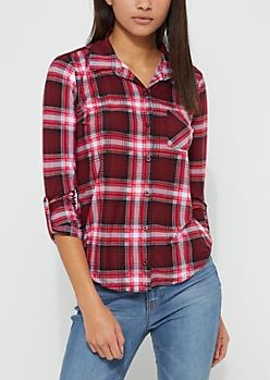Red Tartan Plaid Soft Knit Flannel Shirt