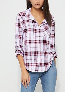 Burgundy Tartan Plaid Soft Knit Flannel Shirt