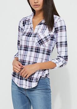 Multi Colored Tartan Plaid Soft Knit Flannel Shirt
