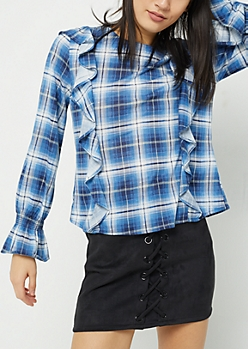 Blue Plaid Ruffled Flannel