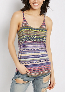 Neon Tribal Wooden Ring Tank Top