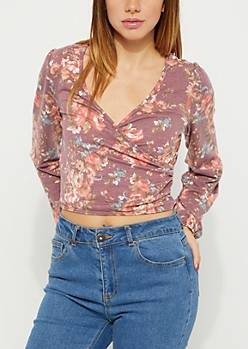 Burgundy Floral Surplice Wrapped Top
