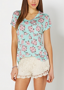 Mint Floral Crochet Back Tee