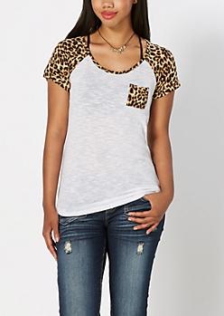 Animal Print Leopard Print Baseball Tee