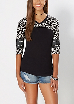Black Leopard Print Varsity Striped Tee