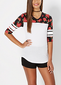Rose Sporty Drop Yoke Top