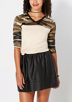 Camo Sporty Drop Yoke Top
