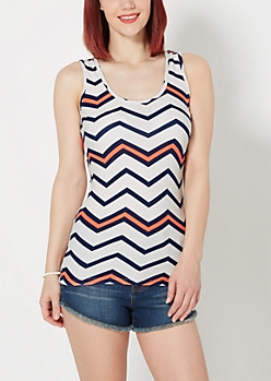 Slim Navy Chevron Brushed Tank Top