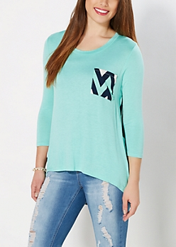 Mint Chevron High-Low Top